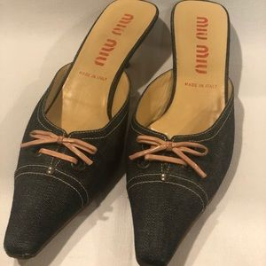Kitten heel Miu Miu denim bow heels